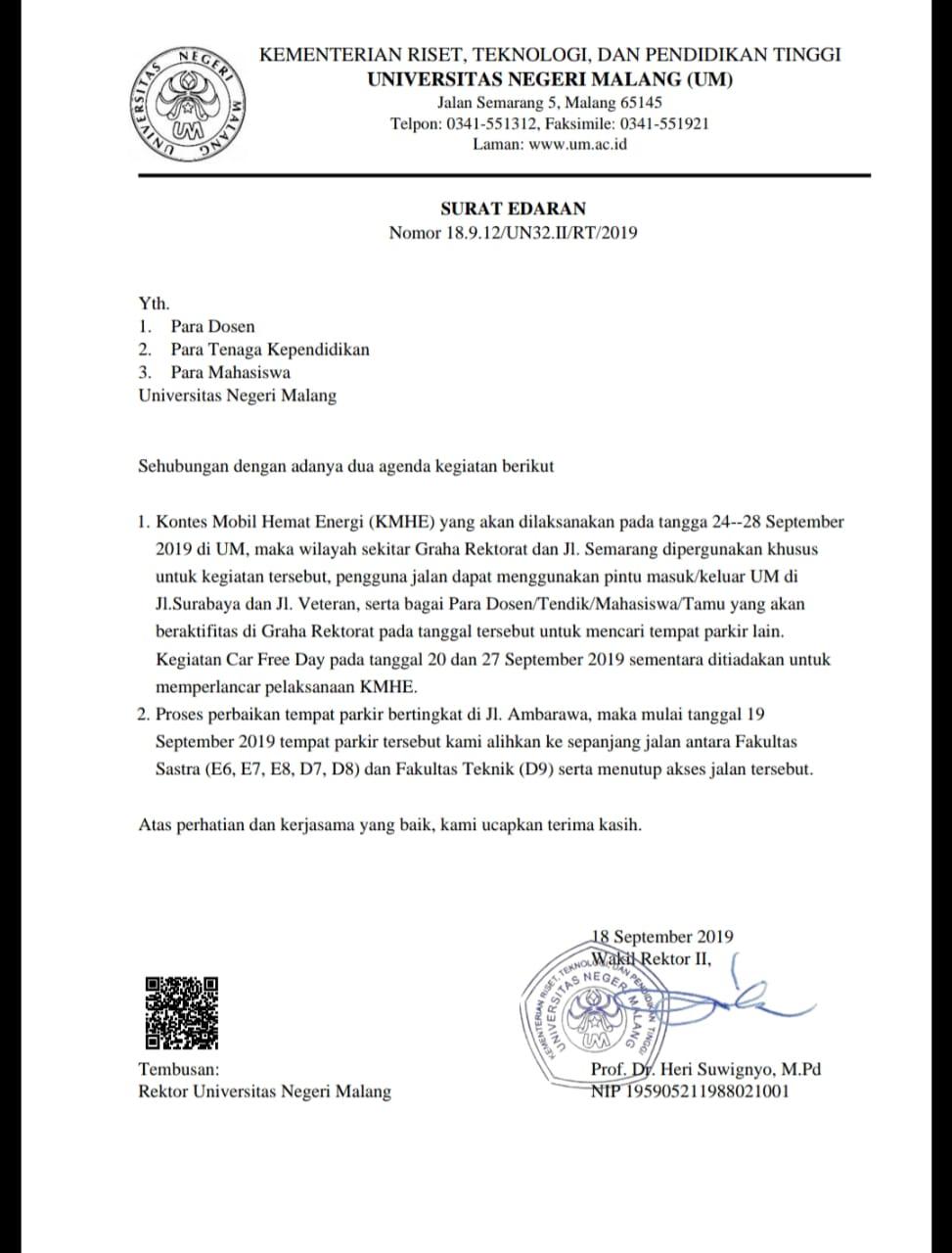 Surat Edaran Parkir Kendaraan Di Lingkungan Um Universitas Negeri Malang Um