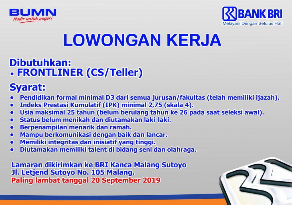 Lowongan Kerja Bank Rakyat Indonesia (BRI) | Universitas ...