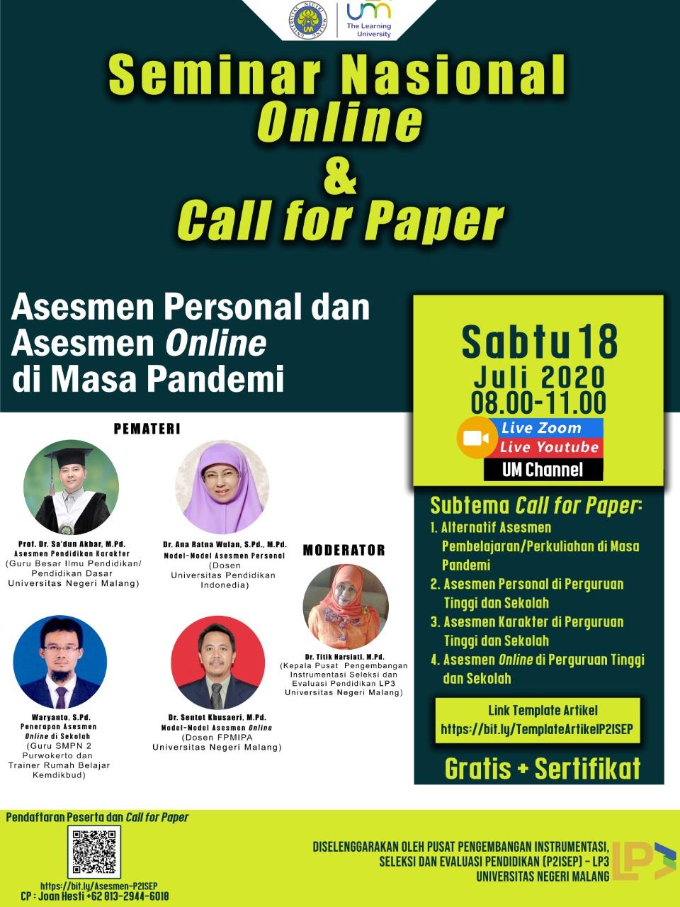 Asesmen Personal Dan Asesmen Online Pada Masa Pandemi Universitas Negeri Malang Um