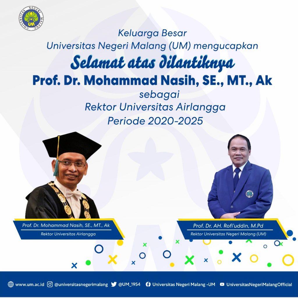 Ucapan Selamat Atas Pelantikan Rektor Unair 2020 2025 Universitas Negeri Malang Um